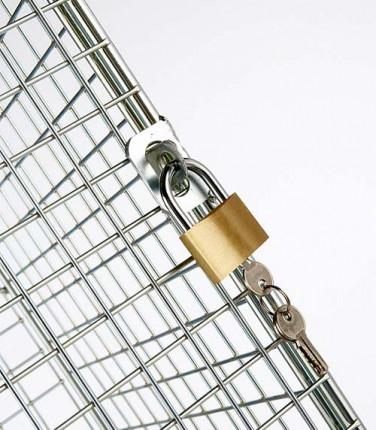 Robinson 16 Door Metal Wire Mesh 1360x1525x457mm Storage Locker - hasp lock on each door