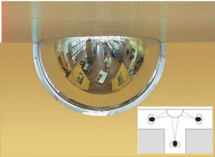 Panoramic 3 way Vision 90cm 180 degrees 1/2 Dome Convex Wall Mirror in use