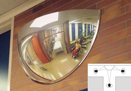Moravia Panoramic 3 way Vision 90cm 180 degrees 1/2 Dome Convex Wall Mirror in use