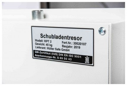 De Raat Protector MP2E £2000 Electronic Deposit Safe - certification plate