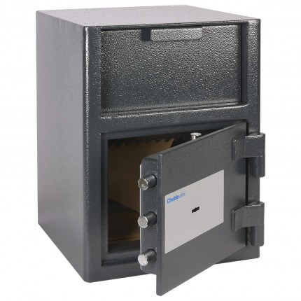 Omega Safe Door slightly open with items inside total internal height 212 millimeters