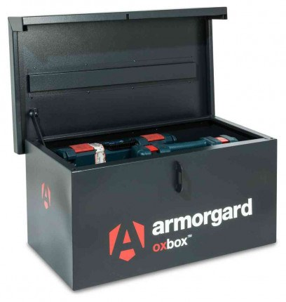 The small Armorgard Oxbox OX5 Security Van Tool Box 810mm wide