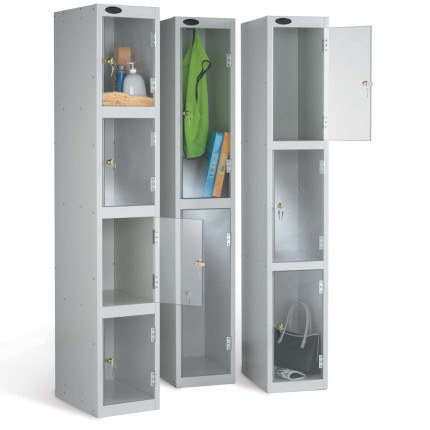 Probe Clear View Security Lockers showing the 2, 3 and 4 door versions