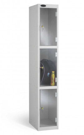 Probe 3 Door Electronic Locking Clear Vision Anti-Theft Locker silver grey