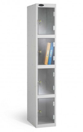 Probe 4 Door Electronic Locking Clear Vision Anti-Theft Locker silver grey