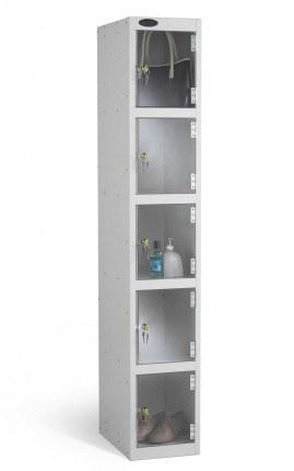 Probe 5 Door Key Locking Clear Vision Anti-Theft Locker silver grey