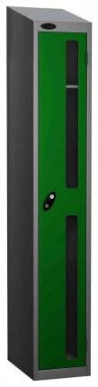 Probe Vision Panel 1 Door Padlock Locking Anti-Stock Theft Locker sloping top fitted green