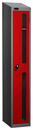 robe Vision Panel 1 Door Key Locking Anti-Stock Theft Locker sloping top fitted  red