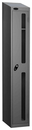 Probe Vision Panel 1 Door Padlock Locking Anti-Stock Theft Locker sloping top fitted silver grey