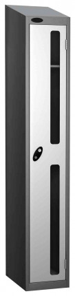 Probe Vision Panel 1 Door Padlock Locking Anti-Stock Theft Locker sloping top fitted white
