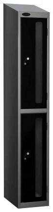Probe Vision Panel 2 Door Padlock Locking Anti-Stock Theft Locker sloping top fitted black