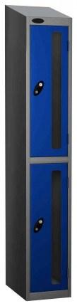 Probe Vision Panel 2 Door Key Locking Anti-Stock Theft Locker sloping top fitted blue