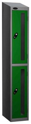 Probe Vision Panel 2 Door Padlock Locking Anti-Stock Theft Locker sloping top fitted gren