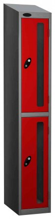 Probe Vision Panel 2 Door Key Locking Anti-Stock Theft Locker sloping top fitted red