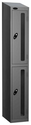Probe Vision Panel 2 Door Padlock Locking Anti-Stock Theft Locker sloping top fitted silver grey