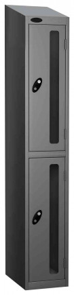 Probe Vision Panel 2 Door Combination Locking Anti-Stock Theft Locker sloping top fitted silver grey