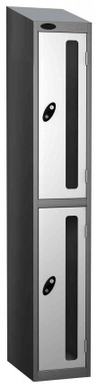 Probe Vision Panel 2 Door Key Locking Anti-Stock Theft Locker sloping top fitted white