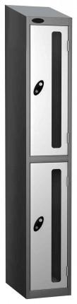 Probe Vision Panel 2 Door Padlock Locking Anti-Stock Theft Locker sloping top fitted white