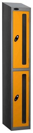 Probe Vision Panel 2 Door Key Locking Anti-Stock Theft Locker sloping top fitted yellow