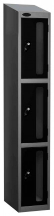 Probe Vision Panel 3 Door Combination Locking Anti-Stock Theft Locker sloping top fitted  black