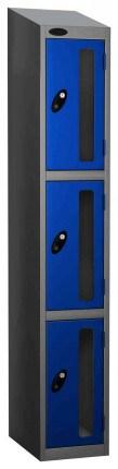 Probe Vision Panel 3 Door Padlock Locking Anti-Stock Theft Locker sloping top fitted blue