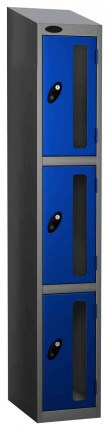 Probe Vision Panel 3 Door Combination Locking Anti-Stock Theft Locker sloping top fitted blue