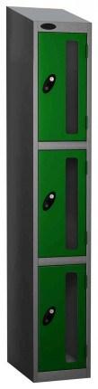 Probe Vision Panel 3 Door Padlock Locking Anti-Stock Theft Locker sloping top fitted green