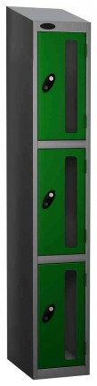 Probe Vision Panel 3 Door Combination Locking Anti-Stock Theft Locker sloping top fitted green