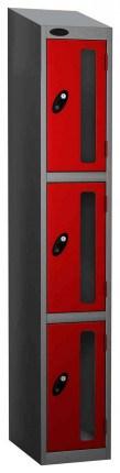 Probe Vision Panel 3 Door Padlock Locking Anti-Stock Theft Locker sloping top fitted red