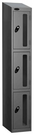 Probe Vision Panel 3 Door Padlock Locking Anti-Stock Theft Locker sloping top fitted silver grey