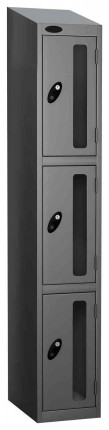 Probe Vision Panel 3 Door Combination Locking Anti-Stock Theft Locker sloping top fitted silver grey