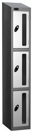 Probe Vision Panel 3 Door Padlock Locking Anti-Stock Theft Locker sloping top fitted white