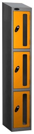 Probe Vision Panel 3 Door Padlock Locking Anti-Stock Theft Locker sloping top fitted yellow