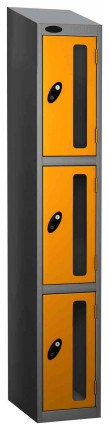 Probe Vision Panel 3 Door Combination Locking Anti-Stock Theft Locker sloping top fitted yellow