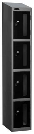 Probe Vision Panel 4 Door Padlock Locking Anti-Stock Theft Locker sloping top fitted black
