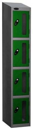 Probe Vision Panel 4 Door Padlock Locking Anti-Stock Theft Locker sloping top fitted green