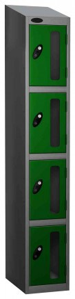 Probe Vision Panel 4 Door Combination Locking Anti-Stock Theft Locker sloping top fitted green