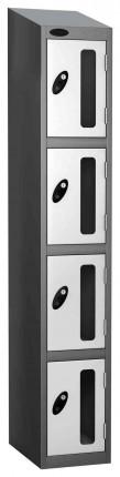 Probe Vision Panel 4 Door Padlock Locking Anti-Stock Theft Locker sloping top fitted white