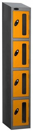 Probe Vision Panel 4 Door Padlock Locking Anti-Stock Theft Locker sloping top fitted yellow