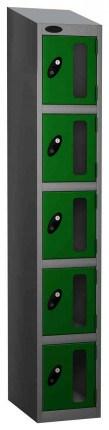 Probe Vision Panel 5 Door Key Locking Anti-Stock Theft Locker sloping top fitted  green