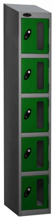 Probe Vision Panel 5 Door Electronic Locking Anti-Stock Theft Locker sloping top fitted  green