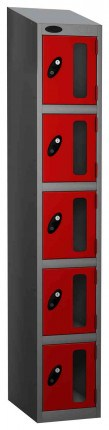 Probe Vision Panel 5 Door Padlock Locking Anti-Stock Theft Locker red