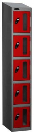 Probe Vision Panel 5 Door Electronic Locking Anti-Stock Theft Locker red