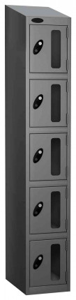 Probe Vision Panel 5 Door Electronic Locking Anti-Stock Theft Locker sloping top fitted silver grey