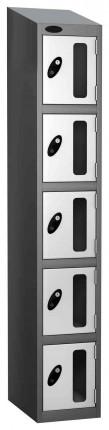 Probe Vision Panel 5 Door Key Locking Anti-Stock Theft Locker sloping top fitted  white