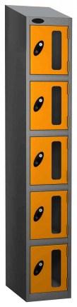 Probe Vision Panel 5 Door Key Locking Anti-Stock Theft Locker sloping top fitted ye;;ow