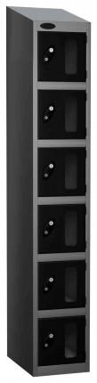 Probe Vision Panel 6 Door Electronic Locking Anti-Stock Theft Locker sloping top fitted black