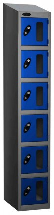 Probe Vision Panel 6 Door Electronic Locking Anti-Stock Theft Locker sloping top fitted blue