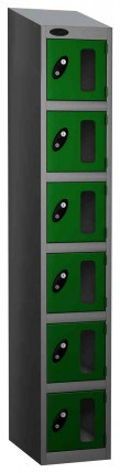 Probe Vision Panel 6 Door Electronic Locking Anti-Stock Theft Locker sloping top fitted green
