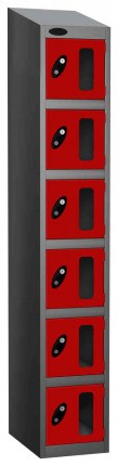 Probe Vision Panel 6 Door Combination Locking Anti-Stock Theft Locker sloping top fitted red